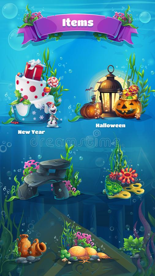 Underwater item set - snowman, cake, gifts, lamp, lantern, rock, stones, algae, amphora, bubbles. Bright image to create original royalty free illustration
