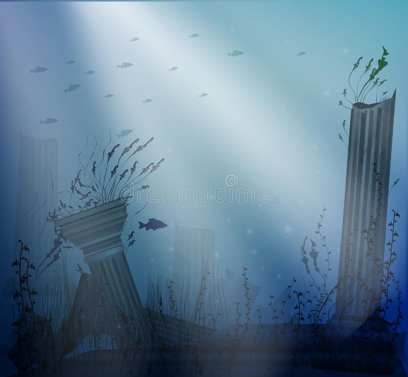 Underwater landscape with ancient ruins of columns with beams of light, secret of Atlantis,. Vector vector illustration
