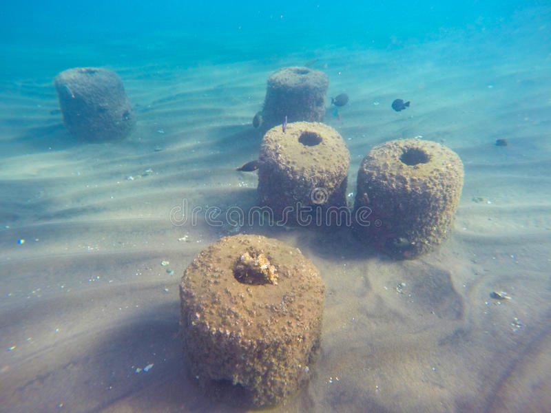 Underwater landscape with concrete objects in seaweed and sand bottom stock image