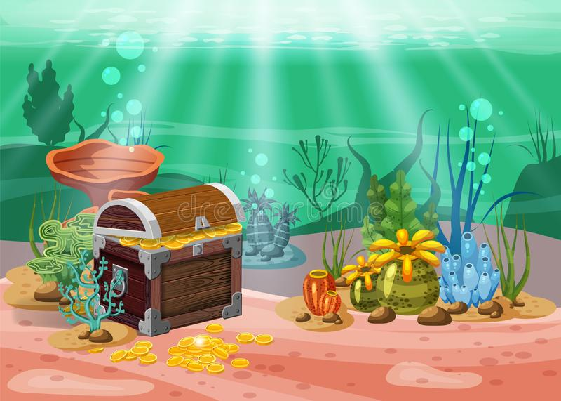 Underwater landscape. The ocean and the undersea world with different inhabitants, corals and pirate chest . Web and vector illustration