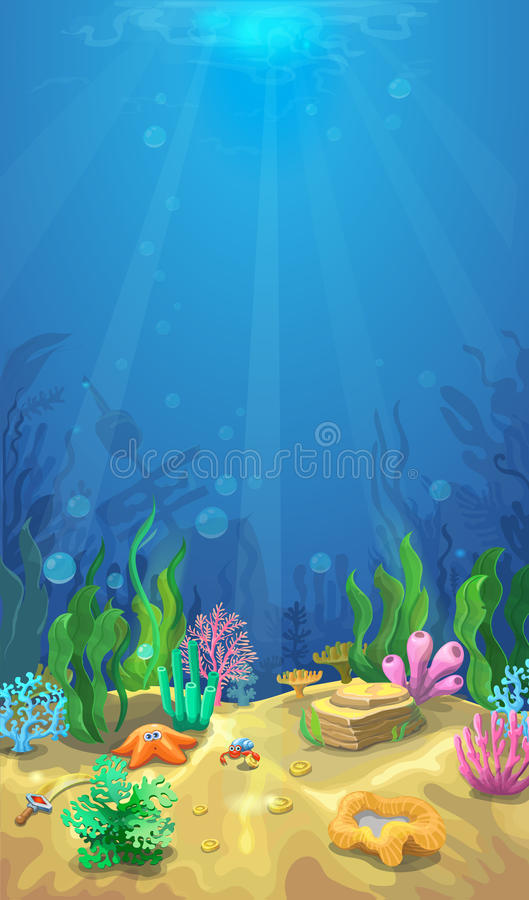 Underwater landscape. The ocean and the undersea world ,Mobile format royalty free illustration