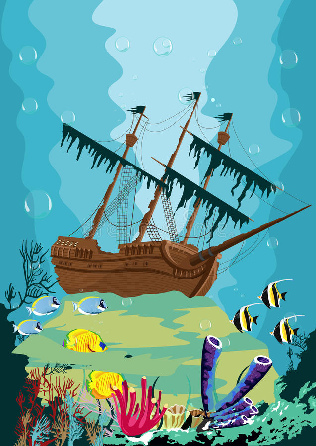 Underwater landscape with old pirate ship. Illustration of underwater landscape with old pirate ship stock illustration