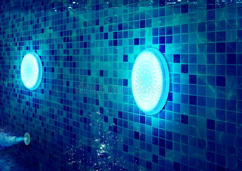 Underwater LED Light for Swimming Pool Application stock photos