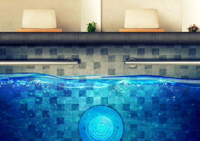 Underwater LED Light for Swimming Pool with Stainless Handle and Pool Chair royalty free stock images