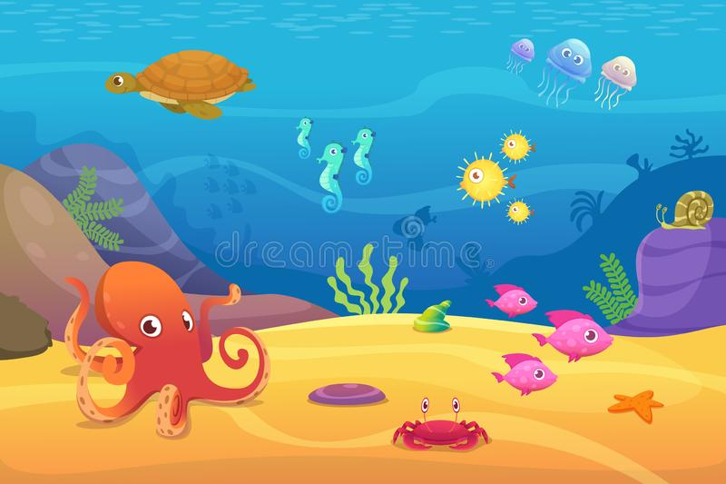 Underwater life. Aquarium cartoon fish ocean and sea animals vector background. Illustration of underwater sea with fish, octopus and jellyfish royalty free illustration