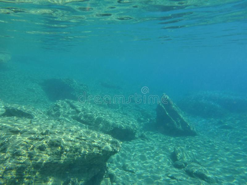 Underwater life in Kolona double bay Kythnos island Cyclades Greece, Aegean sea. Snorkeling as a hobby royalty free stock photos