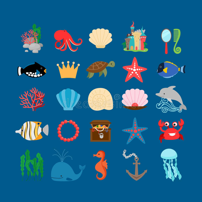 Underwater life and ocean animals royalty free illustration