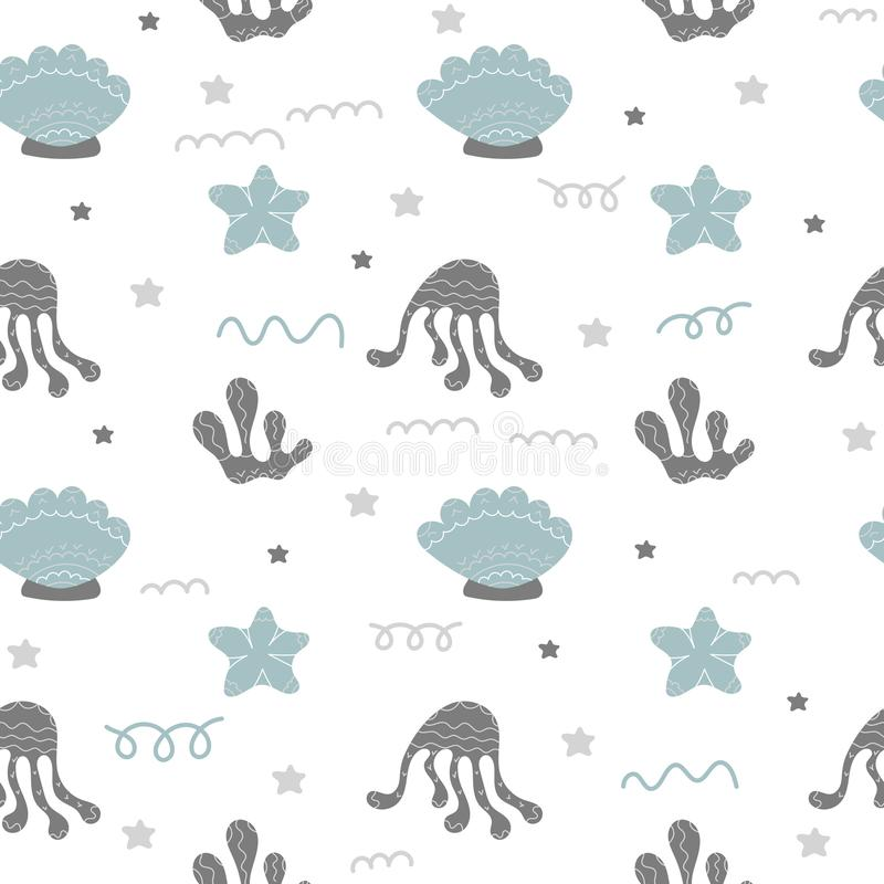 Underwater life vector seamless background. Children`s textiles, wrapping paper stock illustration