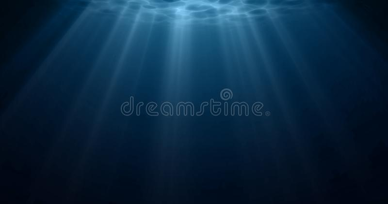 Underwater light, sun light shine under water with ripples on surface. Realistic sunlight under deep water with reflection, blue stock photos