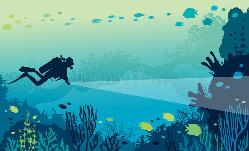 Scuba diver, coral reef, sea. Underwater marine life - silhouette of scuba diver and beautiful coral reef with school of fishes on a blue sea. Vector nature vector illustration