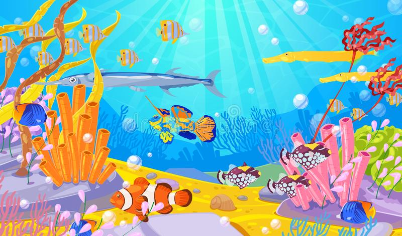 Underwater marine life, vector cartoon illustration. Ocean or sea bottom with colorful fishes, coral reefs and seaweeds. vector illustration