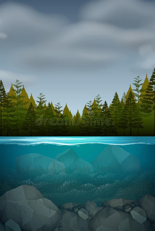 An underwater nature landscape royalty free illustration
