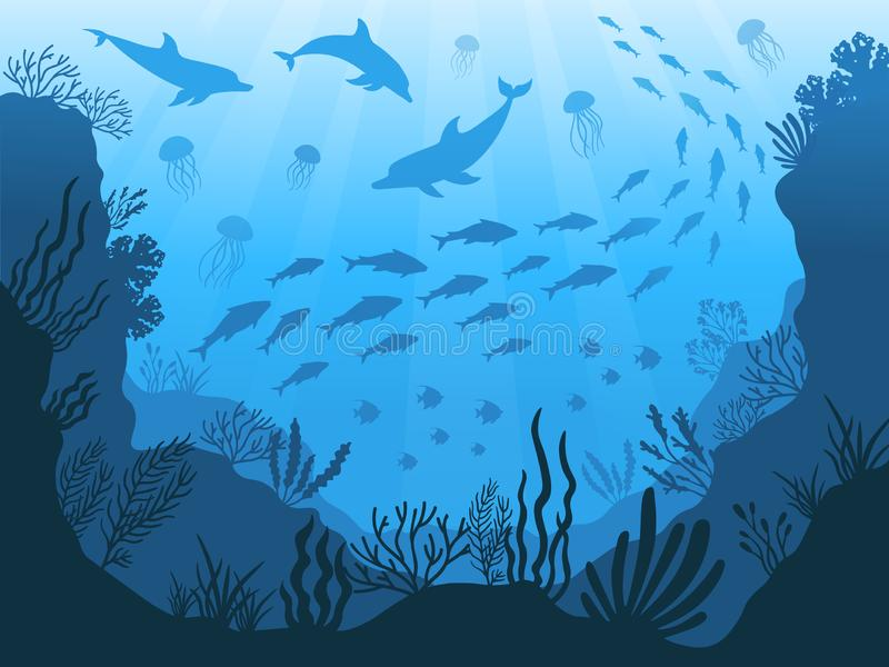 Underwater ocean fauna. Deep sea plants, fishes and animals. Marine seaweed, fish and animal silhouette vector stock illustration