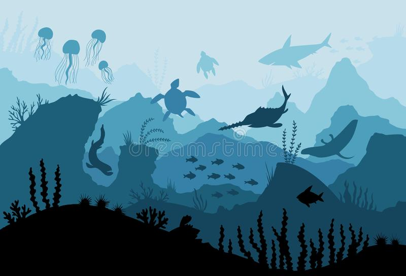Underwater ocean fauna. Deep sea plants, fishes and animals. Marine seaweed, fish under water and animal silhouette with royalty free illustration