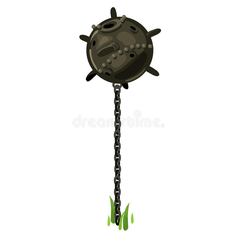 Underwater old bomb on the chain, vector vector illustration