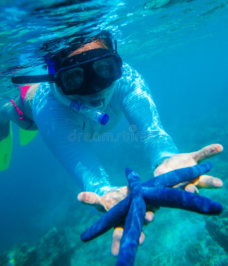 Underwater photo of woman royalty free stock images