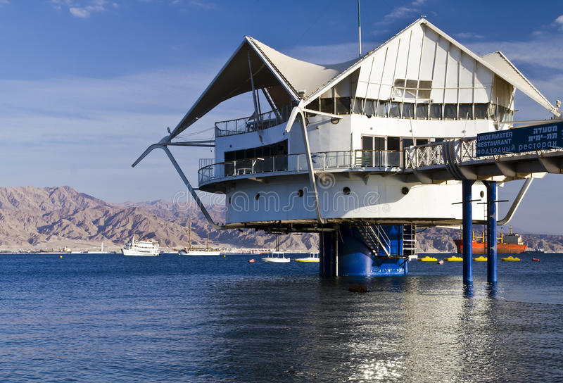 Underwater restaurant in Eilat, Israel. Eilat is a popular recreational and resort city in Israel royalty free stock images