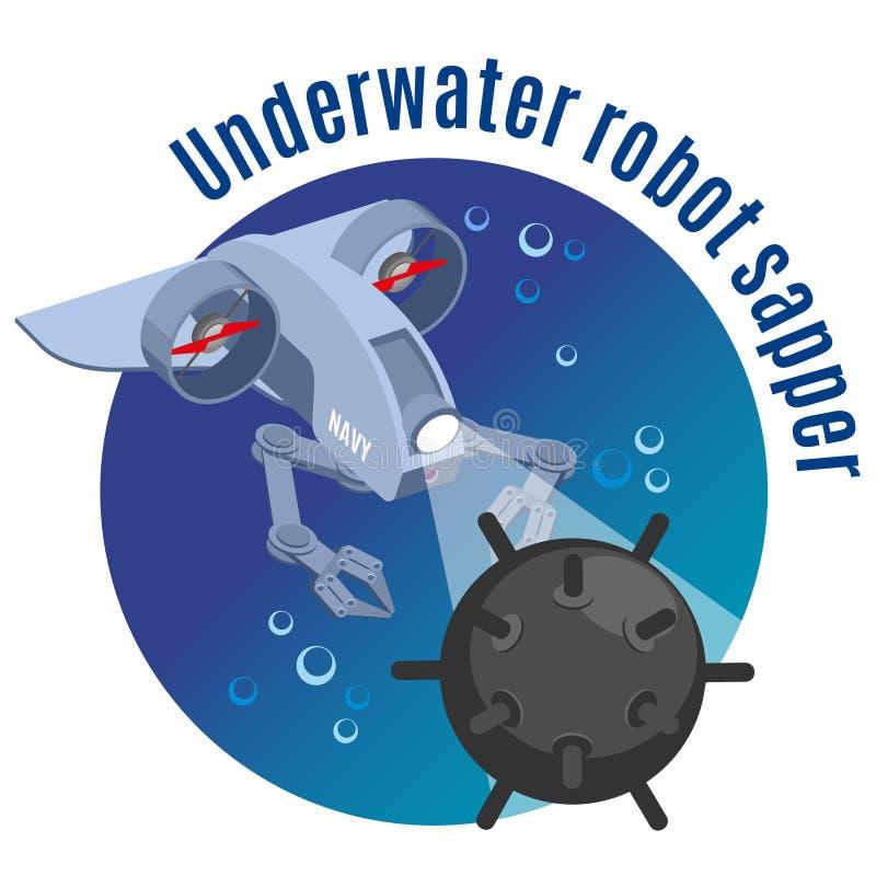Underwater Robot Sapper Round Background vector illustration