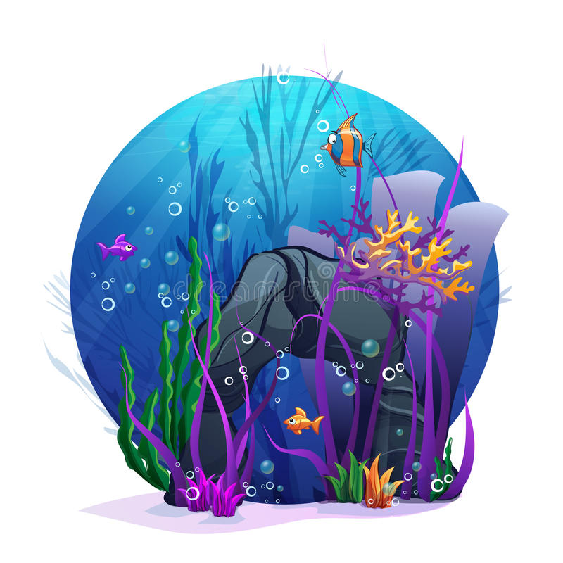 Underwater Rocks With Seaweed And Fish Fun Stock Illustration