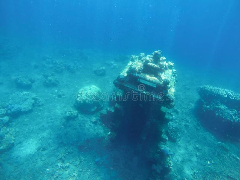 Sunken building relic on the bottom of the sea. royalty free stock image