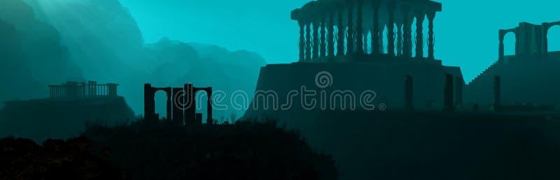 Underwater Ruins Panorama vector illustration