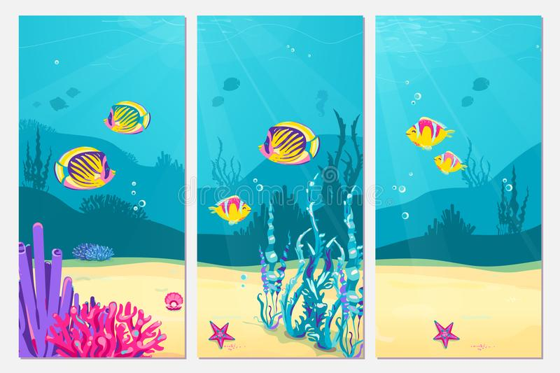 Underwater scene cartoon flat background with fish, sand, seaweed, coral, starfish. Ocean sea life, cute vertical banner royalty free illustration