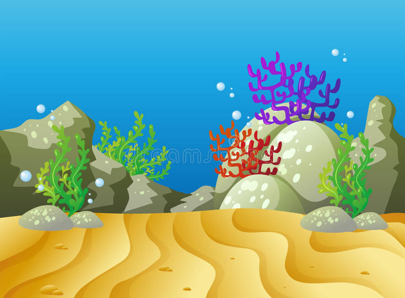 Underwater scene with coral reef. Illustration vector illustration