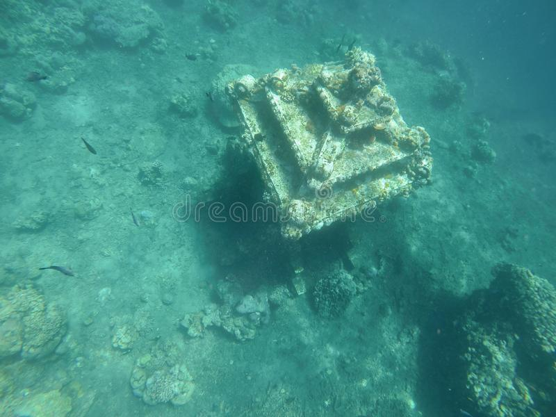 Sunken building relic on the bottom of the sea. royalty free stock photo
