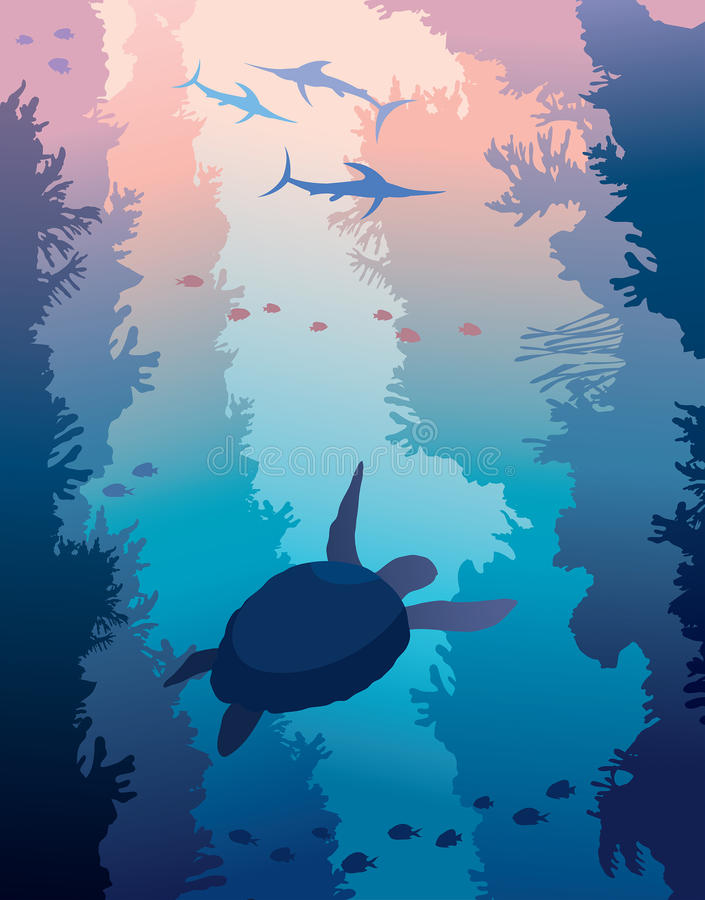 Underwater sea - coral reef, turtle, swordfishes. vector illustration