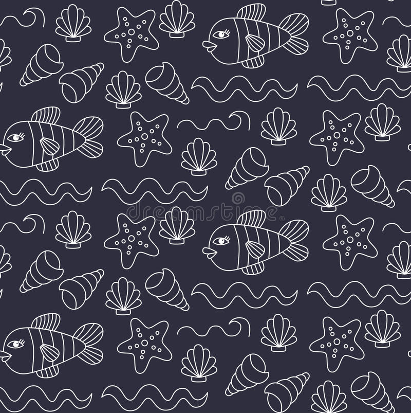 Underwater sea doodles seamless vector pattern stock illustration