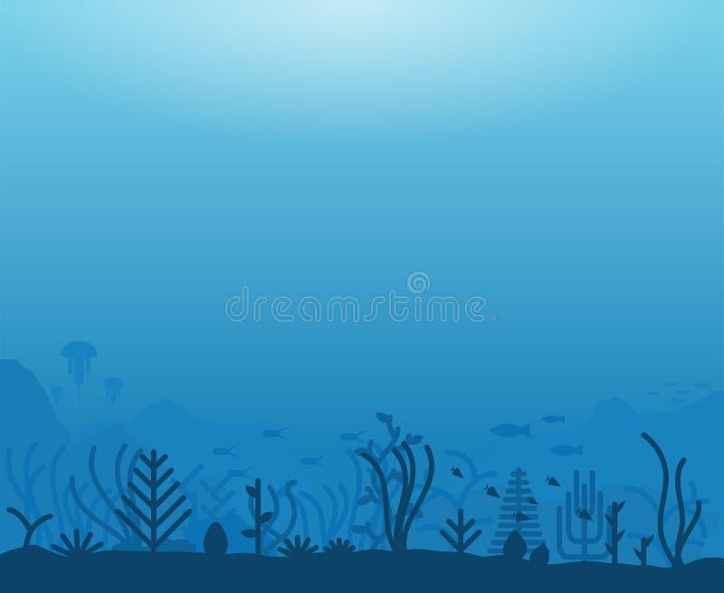 Underwater sea life vector illustration