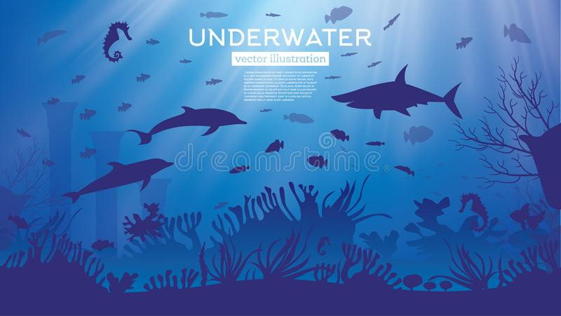 Underwater Sea or Ocean Background with Seaweed and Fish. vector illustration