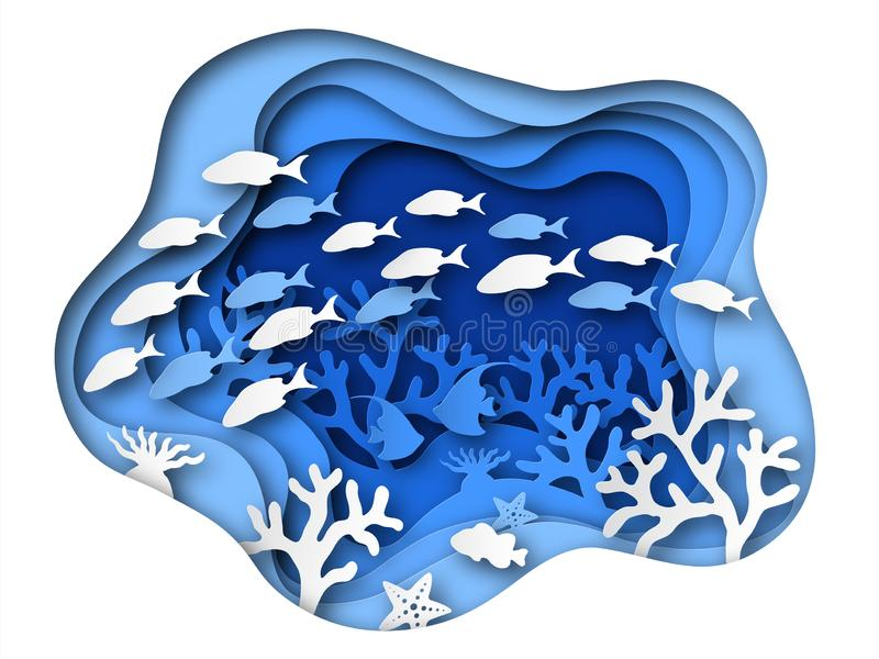 Underwater sea paper cut. Ocean bottom reefs with sea animals, corals and fish, seaweed. Blue seabed paper origami vector illustration