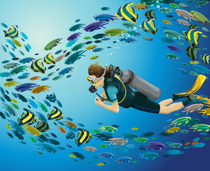 Underwater sea - scuba diver and school of fishes. Underwater illustration with scuba diver and colorful school of fishes on a blue sea background. Vector marine royalty free illustration
