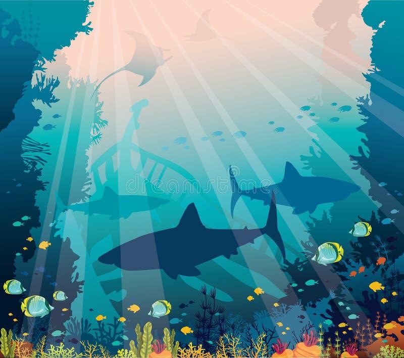 Underwater sea - sharks, mantas, tropical fishes, coral reef, sunken boat. vector illustration
