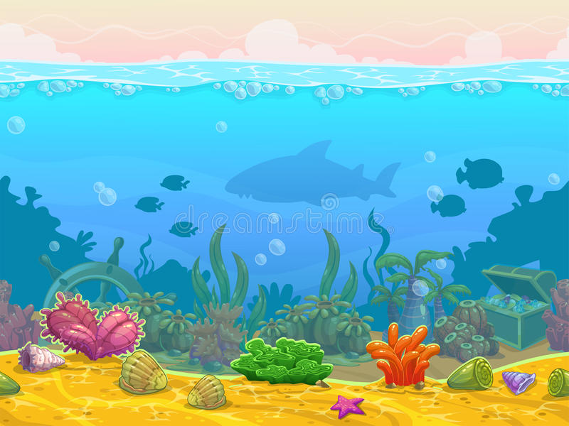 Underwater seamless landscape vector illustration