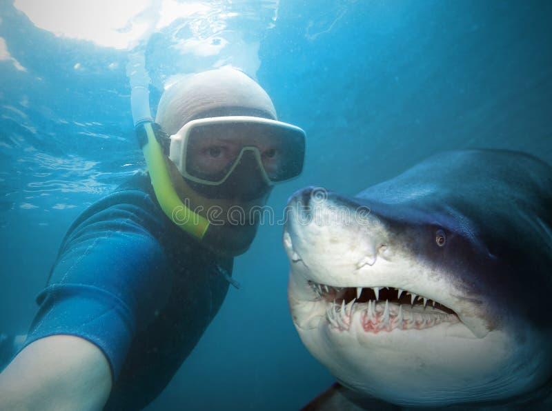Underwater selfie. Underwater selfie with friend. Scuba diver and shark in deep sea