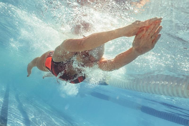 Professional swim athlete gliding in pool royalty free stock photography