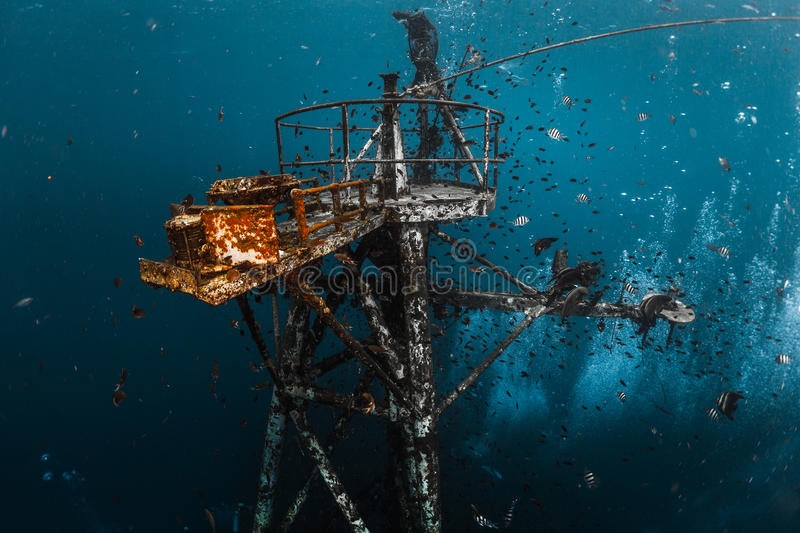 Underwater shot of the ship wreck royalty free stock photo