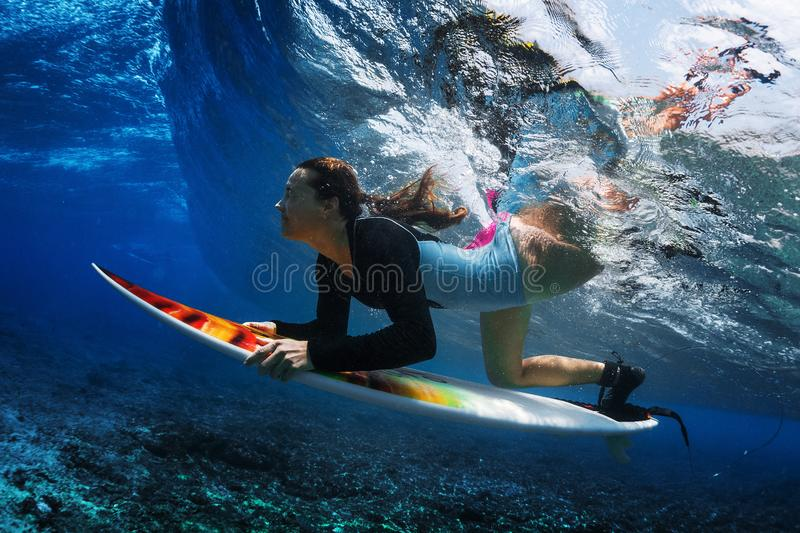 Underwater shot of the young woman surfer stock image