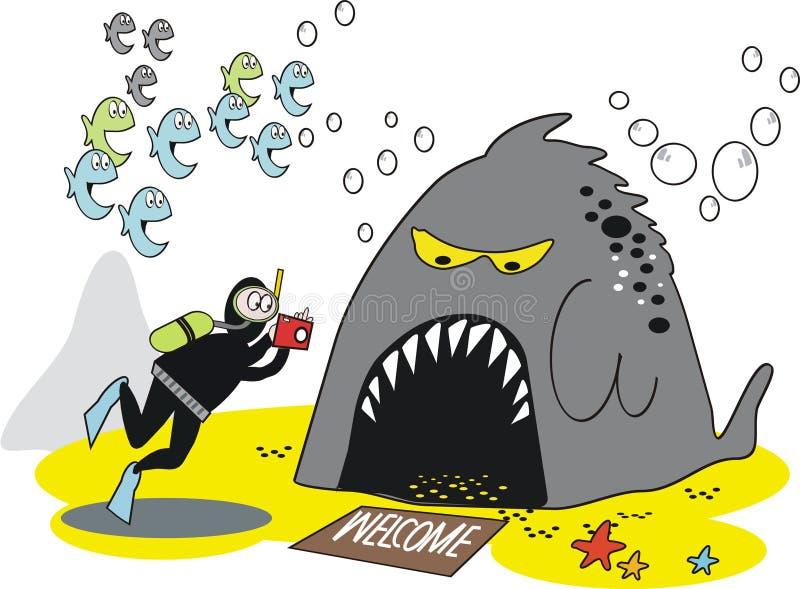 Underwater Skindiver Cartoon Royalty Free Stock Photos