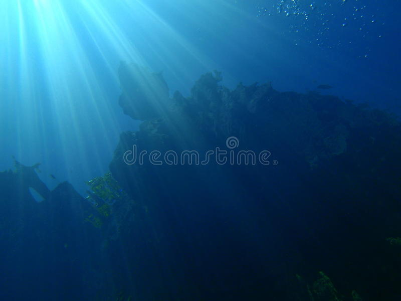 Underwater sun rays stock photos