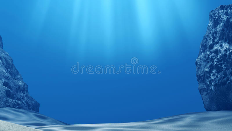 Underwater with sun rays and stones in deep blue sea. 3D rendering royalty free stock images