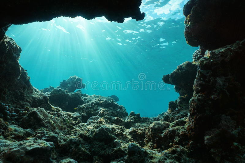 Underwater sunlight from a hole in the ocean floor royalty free stock image