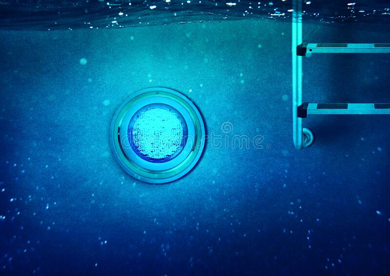 Underwater Swimming Pool with LED Light and Pool Ladder stock images