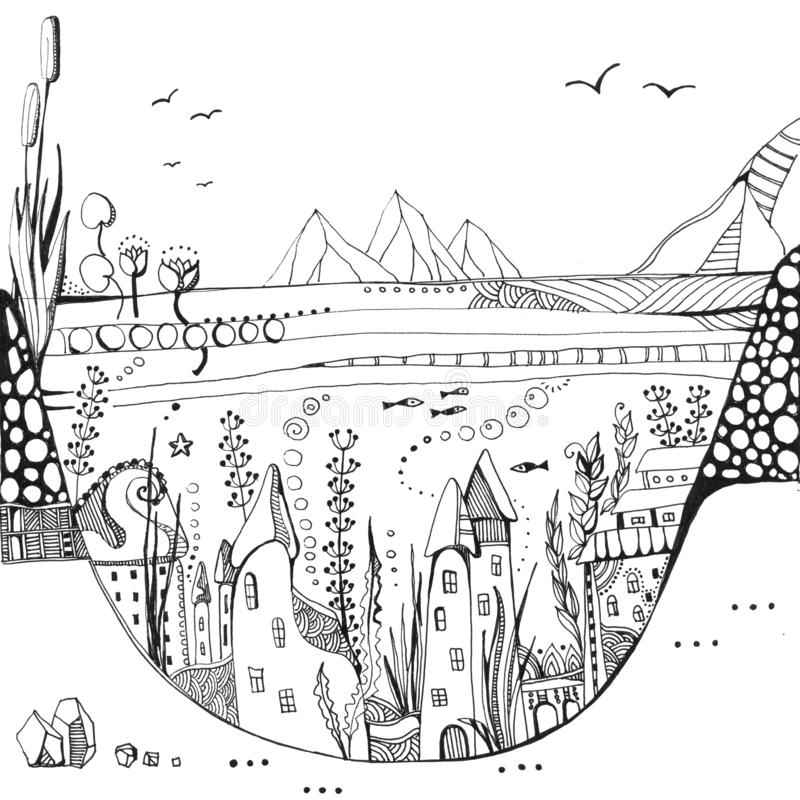Underwater town. Houses among seaweed on bottom of the lake. Fantasy black and white drawing royalty free illustration