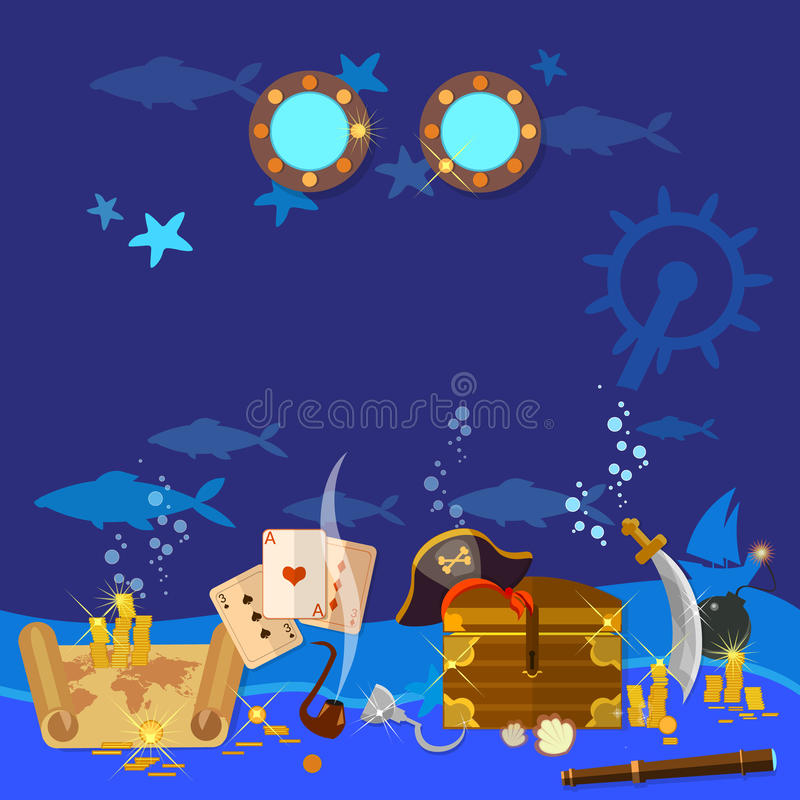 Free Underwater Treasure Pirate Chest With Gold Stock Images - 66335024