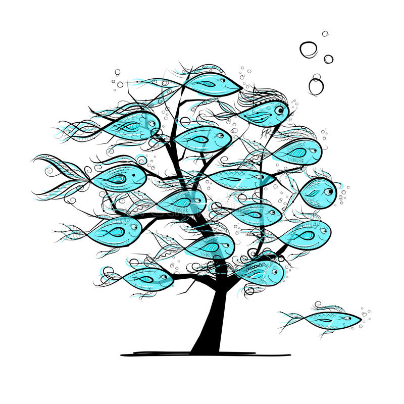 Download Underwater Tree With Funny Fishes For Your Design Stock Vector - Image: 34452142