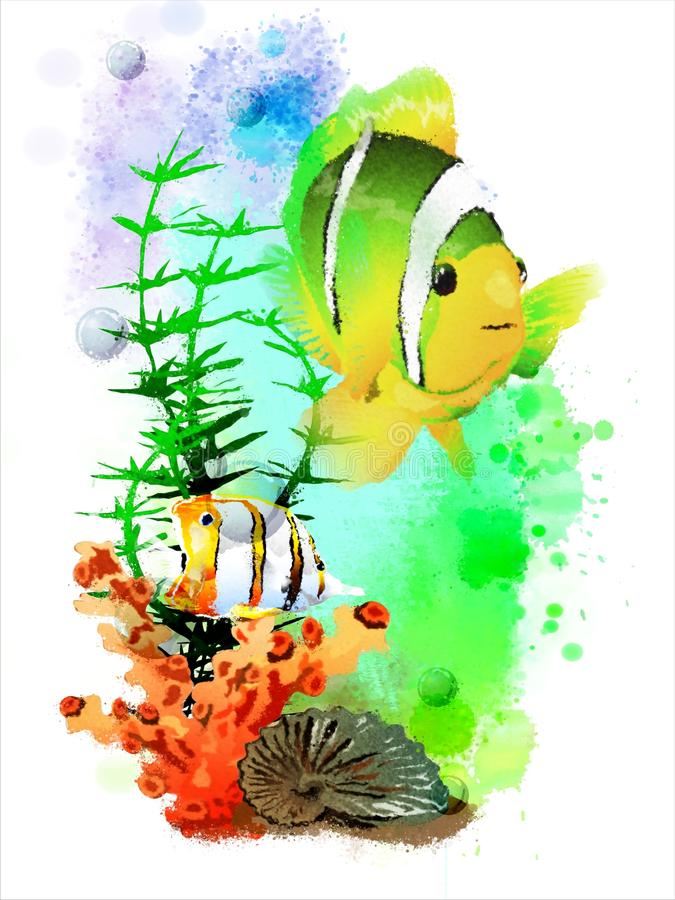 Underwater tropical world on an abstract watercolor background. It can be used for creating postcards, illustrations, artwork, etc vector illustration