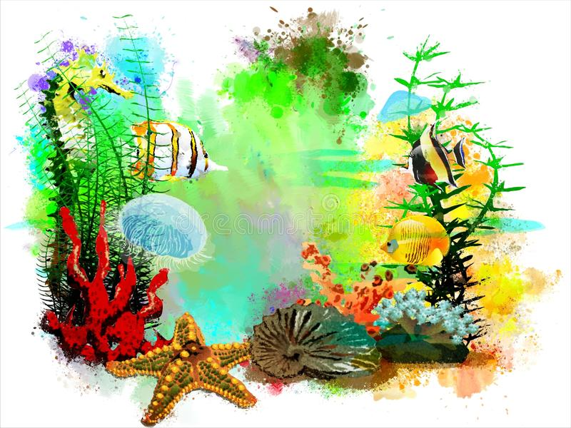 Underwater tropical world on an abstract watercolor background. It can be used for creating postcards, illustrations, artwork, etc